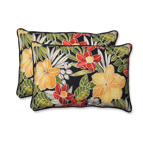 """Set of 2 Floral Green and Yellow Outdoor Corded Rectangular Throw Pillows 24.5"""" - IMAGE 1"""