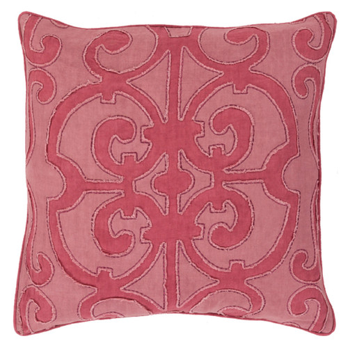 "22"" Wine Red and Mauve Purple Decorative Throw Pillow - Down Filler - IMAGE 1"