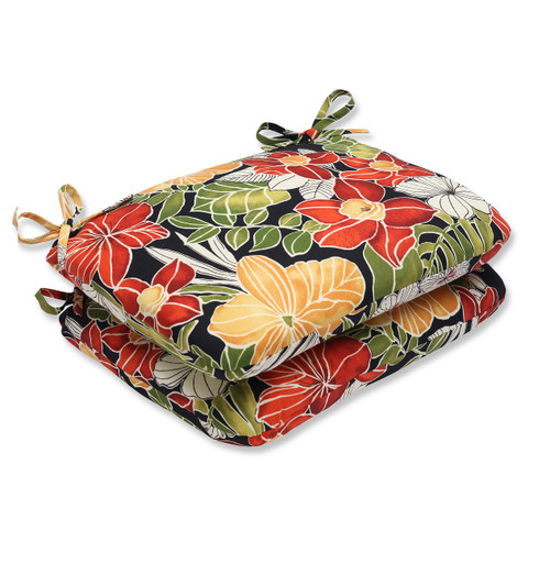 "Set of 2 Red and Green Floral Outdoor Patio Rounded Seat Cushions 18.5"" - IMAGE 1"