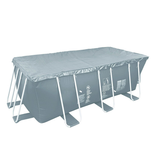 5.9' x 12.6' Gray Rectangular Pool Cover with Rope Ties - IMAGE 1