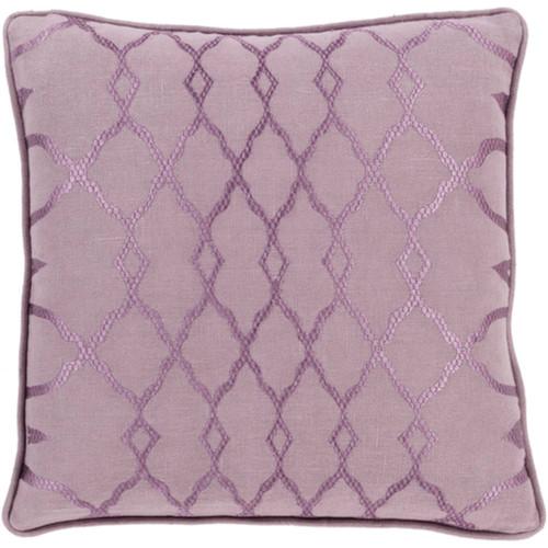 "22"" Mauve Purple Diamond Woven Contemporary Square Throw Pillow - Down Filler - IMAGE 1"