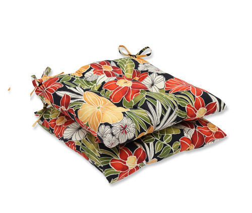 """Set of 2 Red and Green Floral Outdoor Patio Seat Cushions 19"""" - IMAGE 1"""