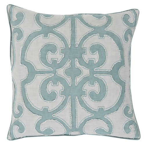 "18"" Gray Embroidered Contemporary Square Throw Pillow - IMAGE 1"