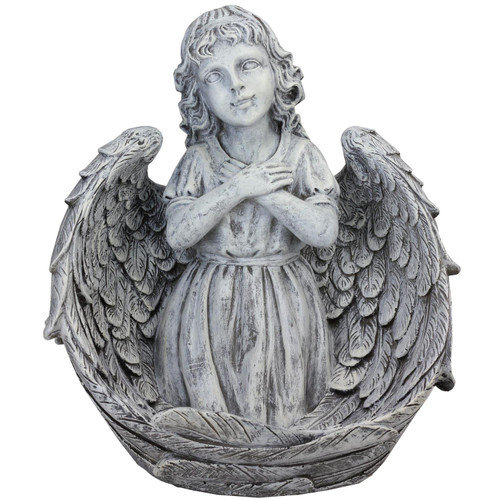 """16"""" Angel Child Wrapped in Wings Religious Outdoor Garden Statue - IMAGE 1"""
