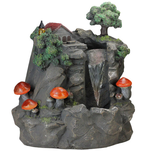 """24.5"""" Solar LED Lighted Mushrooms By Waterfall Outdoor Patio Garden Water Fountain - IMAGE 1"""