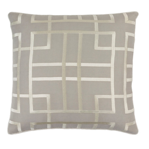 """18"""" Beige and Gray Woven Square Throw Pillow - Down Filler - IMAGE 1"""
