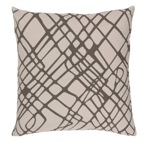 """22"""" Drizzle Obsession Mink Brown and Albino White Decorative Throw Pillow - Polyester Filled - IMAGE 1"""
