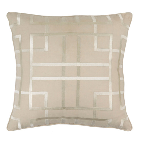 """18"""" Beige and Ivory Woven Square Throw Pillow - Polyester Filler - IMAGE 1"""
