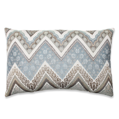 "18.5"" Gray and White Chevron Rectangular Throw Pillow - IMAGE 1"