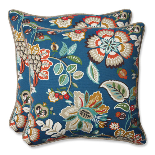 "Set of 2 Blue Garden Oasis Outdoor Patio Decorative Throw Pillows 18.5"" - IMAGE 1"