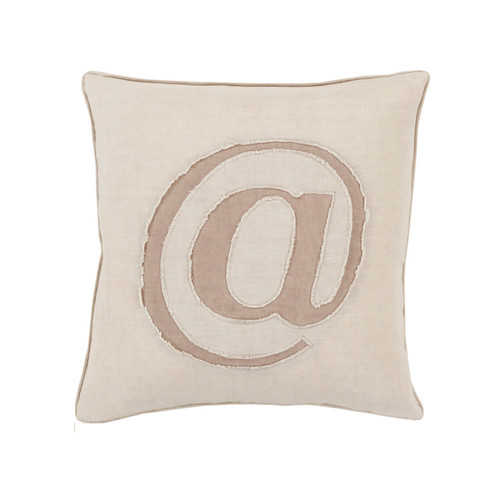 """18"""" Beige and Brown Contemporary Square Throw Pillow - Down Filler - IMAGE 1"""