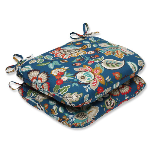 Set of 2 Blue Garden Oasis Outdoor Patio Seat Cushions - IMAGE 1