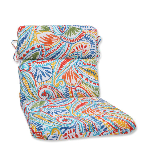"""40.5"""" Blue and Red Paisley Outdoor Patio Rounded Chair Cushion - IMAGE 1"""