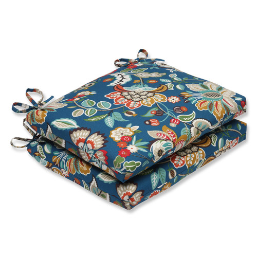 """Set of 2 Blue Garden Oasis Outdoor Patio Chair Seat Cushions with Ties 18.5"""" - IMAGE 1"""