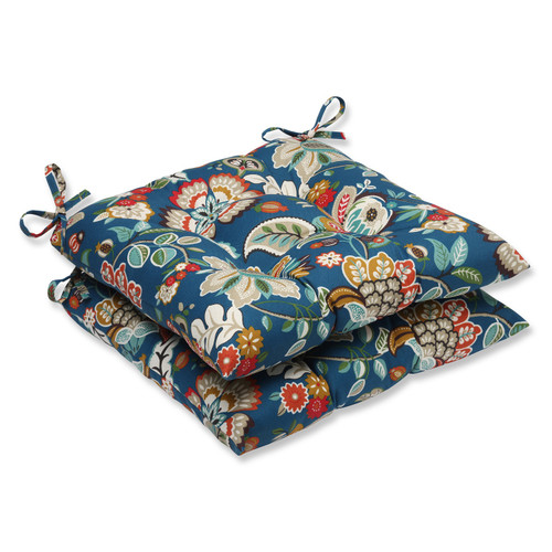 Set of 2 Blue Garden Oasis Outdoor Patio Decorative Seat Cushions - IMAGE 1