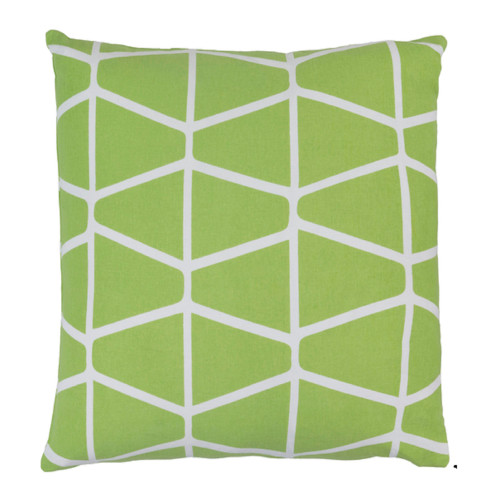 """22"""" Trapezium Delight Absinthe Green and Albino White Geometric Woven Decorative Throw Pillow - Down Filler - IMAGE 1"""