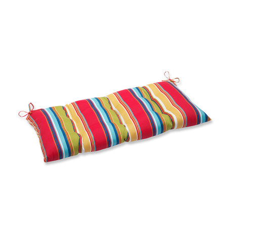 """44"""" Red and Blue Striped Outdoor Patio Tufted Bench Cushion - IMAGE 1"""