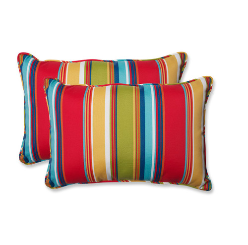 """Set of 2 Striped Red and Blue Outdoor Corded Rectangular Throw Pillows 24.5"""" - IMAGE 1"""