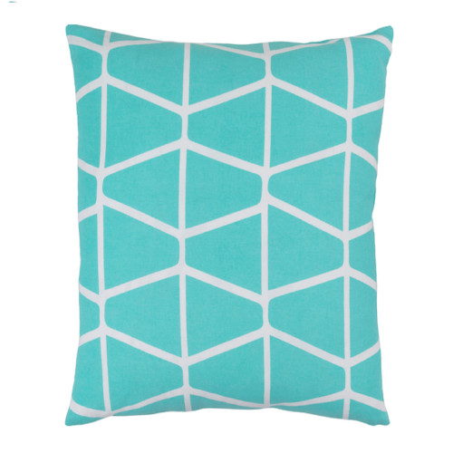 "22"" Trapezium Delight Aqua Blue and Albino White Geometric Woven Decorative Throw Pillow - Polyester Filled - IMAGE 1"