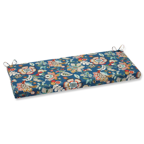 "45"" Blue Garden Oasis Decorative Outdoor Bench Cushion - IMAGE 1"