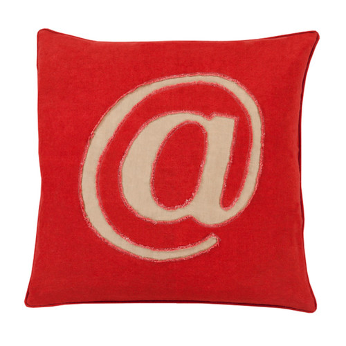 "18"" Crimson Red and Brown Contemporary Square Throw Pillow - Down Filler - IMAGE 1"
