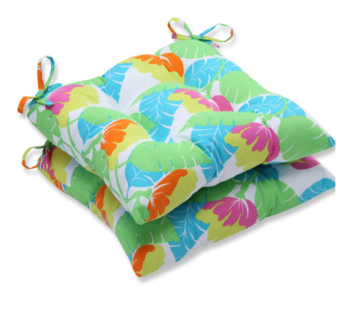 "Set of 2 Mulitcolored Jungle Fiesta Tropical Outdoor Patio Chair Cushions 19"" - IMAGE 1"