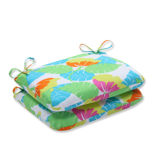 "Set of 2 Avia Fiesta Tropical Outdoor Rounded Corner Chair Cushions 18.5"" - IMAGE 1"