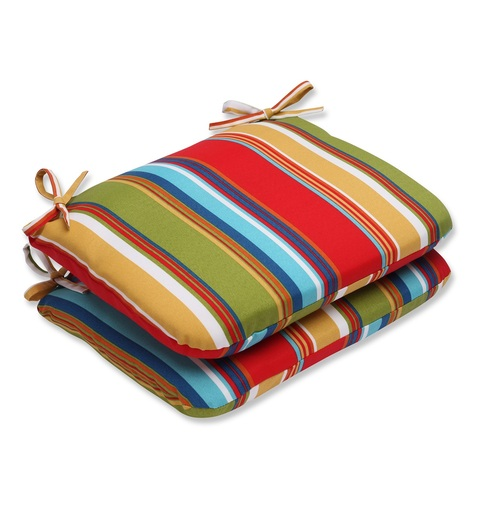 """Set of 2 Red and Blue Striped Rounded Seat Cushions 18.5"""" - IMAGE 1"""