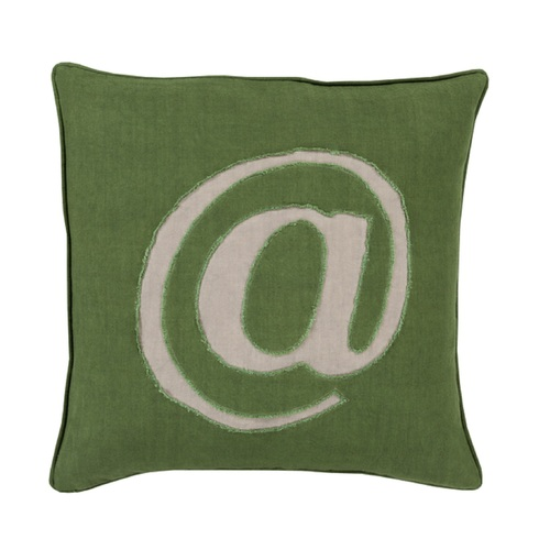 "20"" Green and Gray Trending Contemporary Square Throw Pillow - Down Filler - IMAGE 1"