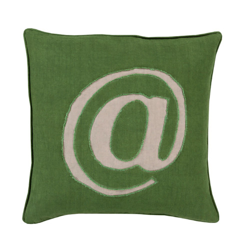 """22"""" Green and Gray Trending Contemporary Square Throw Pillow - Down Filler - IMAGE 1"""