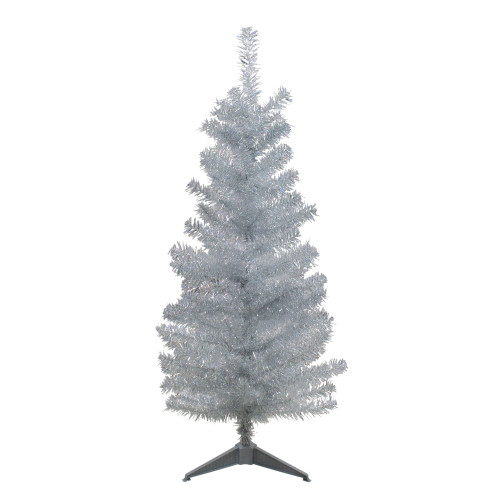 4' Holographic Silver Tinsel Slim Artificial Christmas Tree - Unlit - IMAGE 1