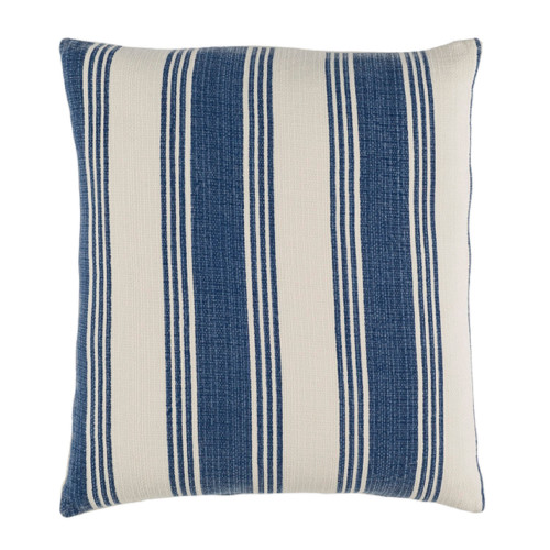 """18"""" Navy blue and Cream White Striped Square Throw Pillow - Down Filler - IMAGE 1"""