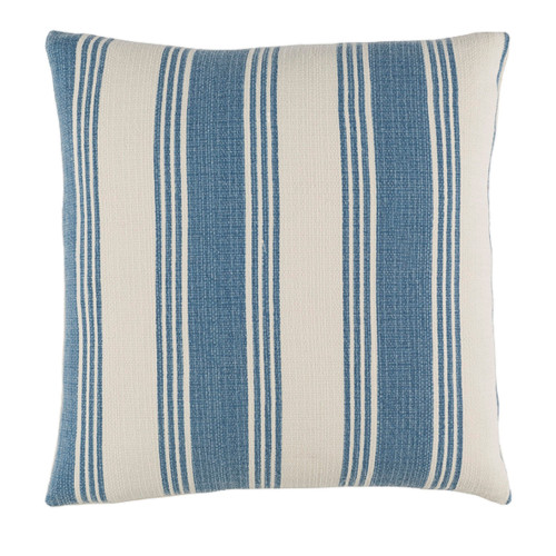 """20"""" Blue and Alabaster White Striped Square Throw Pillow - Down Filler - IMAGE 1"""