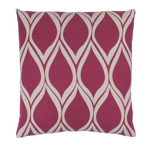 "22"" Falling Drops Raspberry Pink and Cloud Gray Decorative Throw Pillow - Polyester Filled - IMAGE 1"
