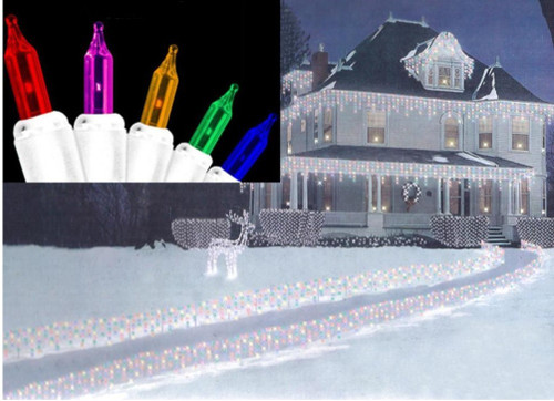 300-Count Multi-Color Mini Icicle Christmas Light Set - 8.2ft White Wire - IMAGE 1