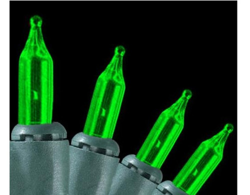 140-Count Green Ever Glow Mini Christmas Light Set, 34.75 ft Green Wire - IMAGE 1