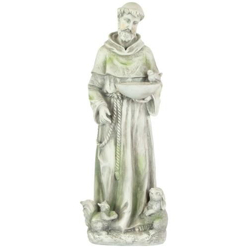 "23"" Religious St. Francis of Assisi Bird Feeder Outdoor Garden Statue - IMAGE 1"