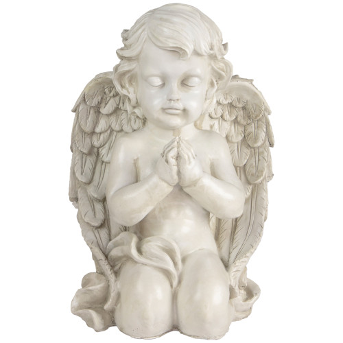 "13.5"" Gray Kneeling Praying Cherub Angel Religious Outdoor Garden Statue - IMAGE 1"