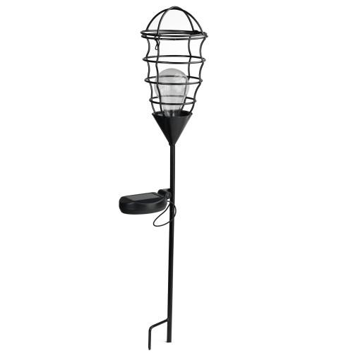"23.5"" Black Geometric Solar Powered LED Outdoor Patio Metal Lantern with Garden Stake - IMAGE 1"