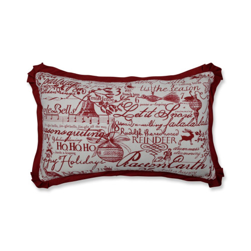 "18.5"" Cranberry Red and White Heartwarming Patterned Rectangular Throw Pillow - IMAGE 1"