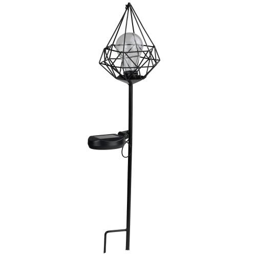 "25.5"" Black Diamond Solar Powered LED Outdoor Patio Metal Lantern with Garden Stake - IMAGE 1"