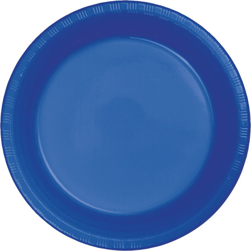 "Club Pack of 240 Cobalt Blue Disposable Plastic Party Banquet Lunch Plates 6.75"" - IMAGE 1"