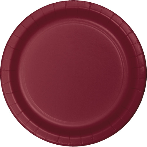 """Club Pack of 240 Burgundy Disposable Paper Party Banquet Dinner Plates 9"""" - IMAGE 1"""
