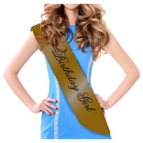 """Club Pack of 12 Black and Gold Women Adult Sashes 33.5"""" - IMAGE 1"""