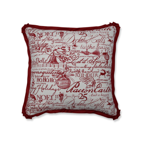 """18"""" Cranberry Red and White Heartwarming Patterned Square Throw Pillow - IMAGE 1"""