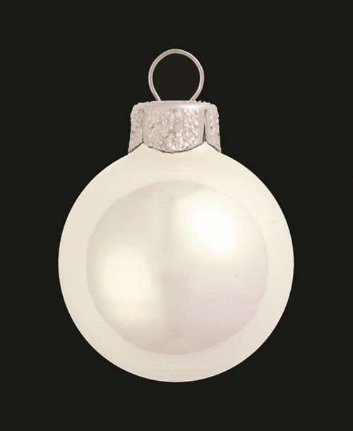 "4ct Polar White Pearl Glass Christmas Ball Ornaments 4.75"" (120mm) - IMAGE 1"