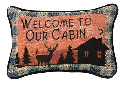 """12.5"""" Gray and Orange """"Welcome To Our Cabin"""" Rectangular Throw Pillow - IMAGE 1"""