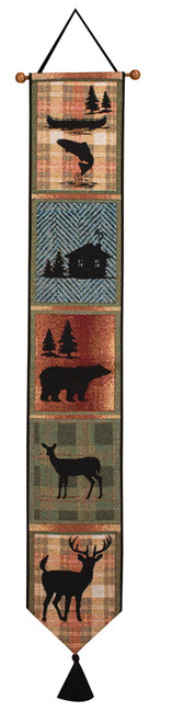 """41"""" Brown and Black Contemporary Tapestry Bell Pull Wall Hanging - IMAGE 1"""