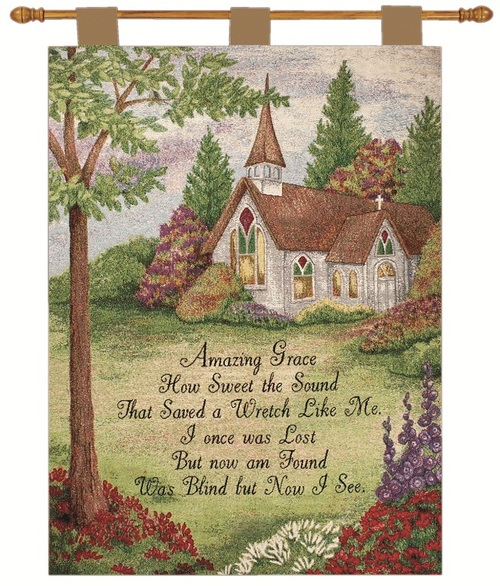 """Amazing Grace Church in the Country Cotton Wall Art Hanging Tapestry 36"""" x 26"""" - IMAGE 1"""