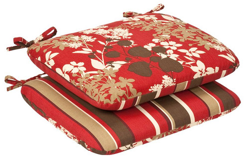 """Set of 2 Red Striped Outdoor Reversible Patio Chair Seat Cushions 18.5"""" - IMAGE 1"""